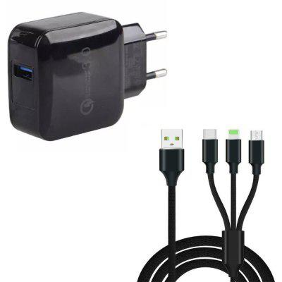 Quick Charge 3.0 USB Wall Charger EU Plug + 3 in 1 Type-C + 8 Pin + Micro USB Data Charging Cable
