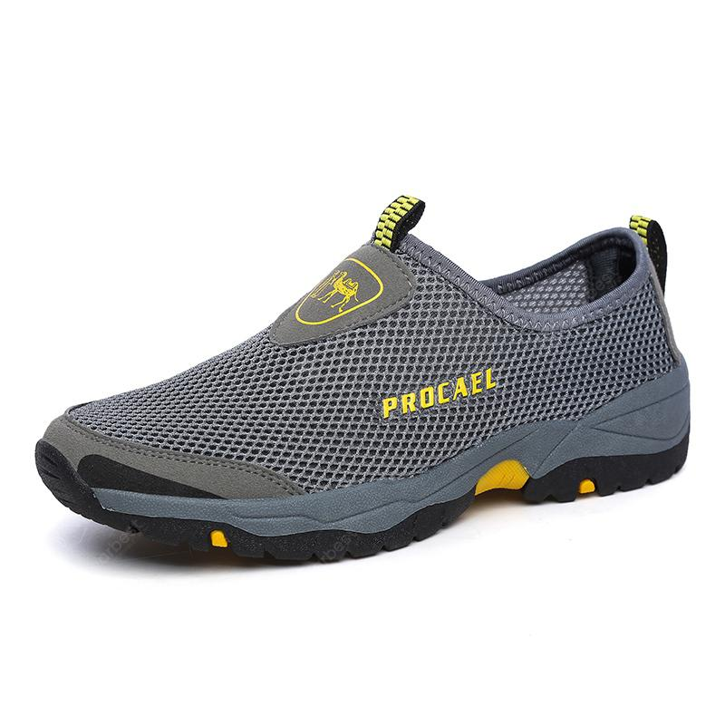 Male Casual Slip On Mesh Soft Flat Hiking Shoes