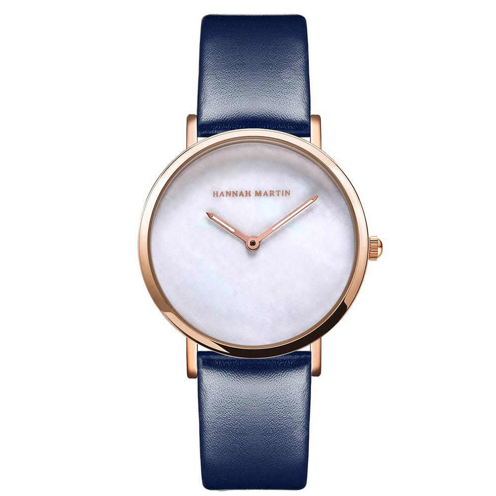 Hannah Martin Simple Leather Band Women Quartz Watch for Students