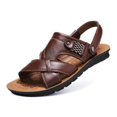 Summer Casual Cow Leather Men Beach Sandals Slipper