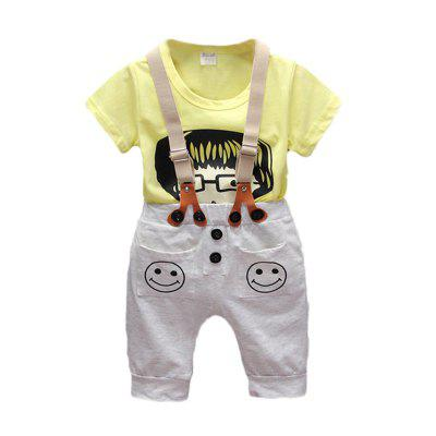 Baby Boy's Suspender Shorts Cartoon Short Sleeve T-shirt Set 2pcs