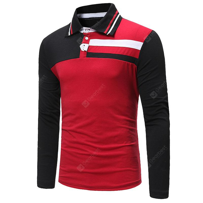 New Men's Fashion Lapels Casual Color Matching Personality Youth Long Sleeve Polo Shirt