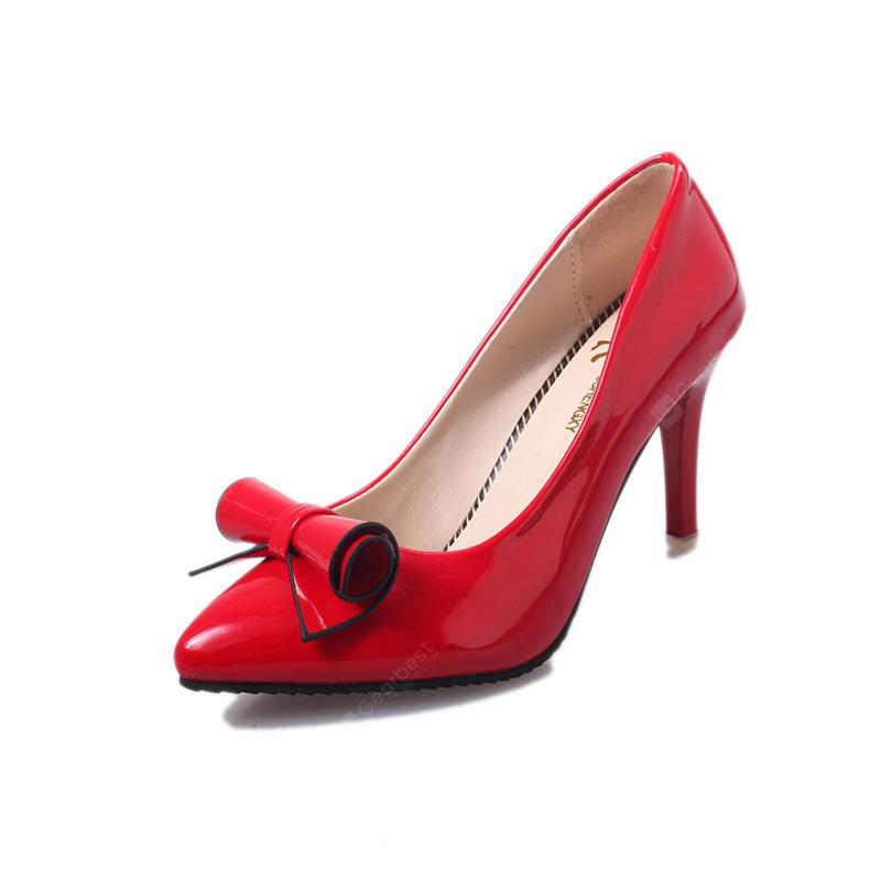 Bright Leather Bow Fashion All-match Stiletto Shoes