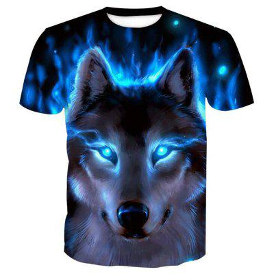 Men's Casual 3D Print Wolf Round Neck Short Sleeves T-shirt