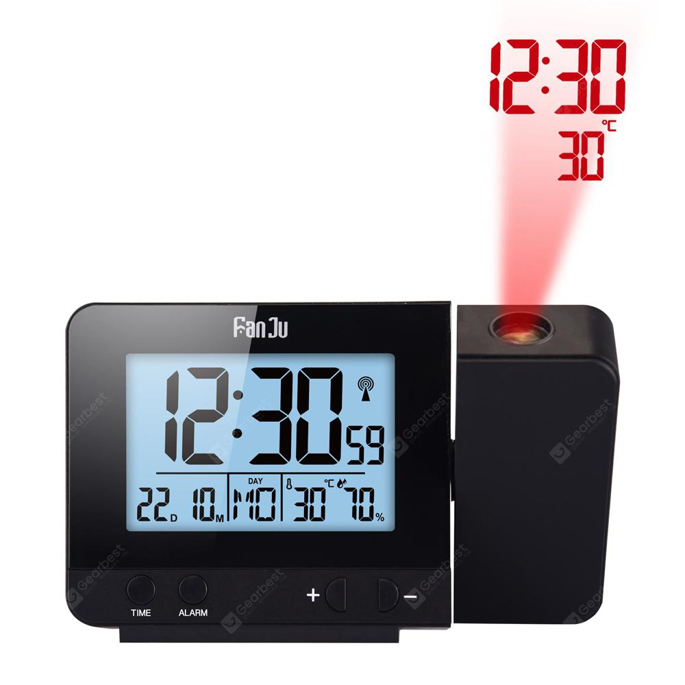 FanJu FJ3531 Projection Alarm Clock with Temperature and Time Projection - BLACK