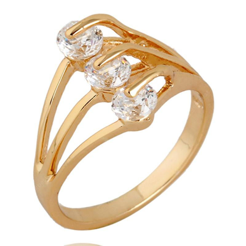 Three-wire Holly-out Exquisite Zircon Ring J0405