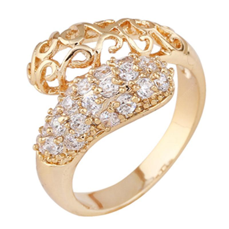 Fashion Micro-Inlaid Noble and Simple Hollow Zircon Ring J0458