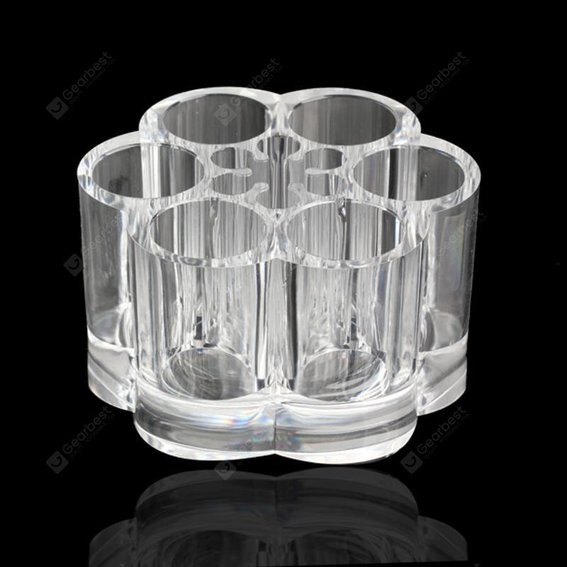 6 Holes Clear Round Plastic Acrylic Cosmetic Storage Display Rack Holder Organiser Makeup Stand Jewelry Box