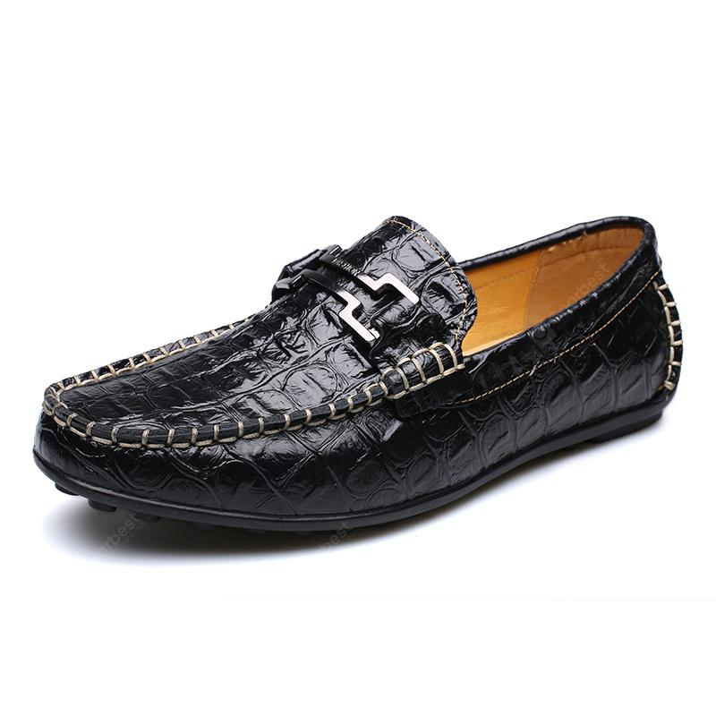 New Casual Fashion Loafers Outdoor Travel Leather Breathable Comfort Men Shoes