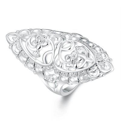 Charming 925 Silver Plated Big Hollow Ring Thumb/Ring Women Fashion Jewelry