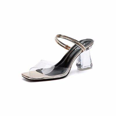 All-match Transparent Fashion Wear Thick Heeled Sandals and Slippers