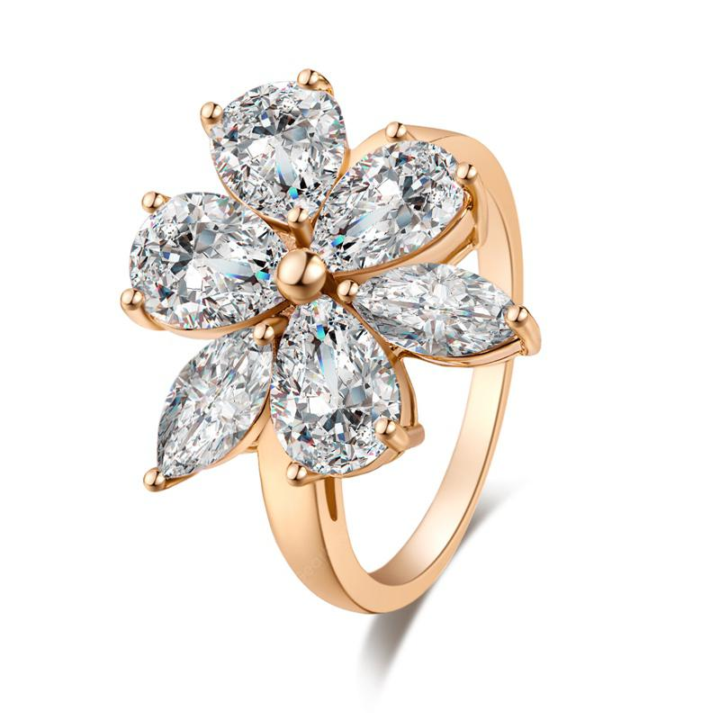 Fashionable Luxurious Double Flower Petals Take You to the Real Gold Ring J0076