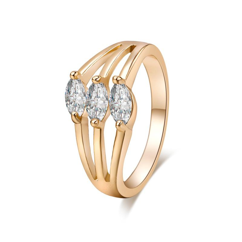 Fashionable Three Layers of Fine Zircon Real Gold Ring J0085