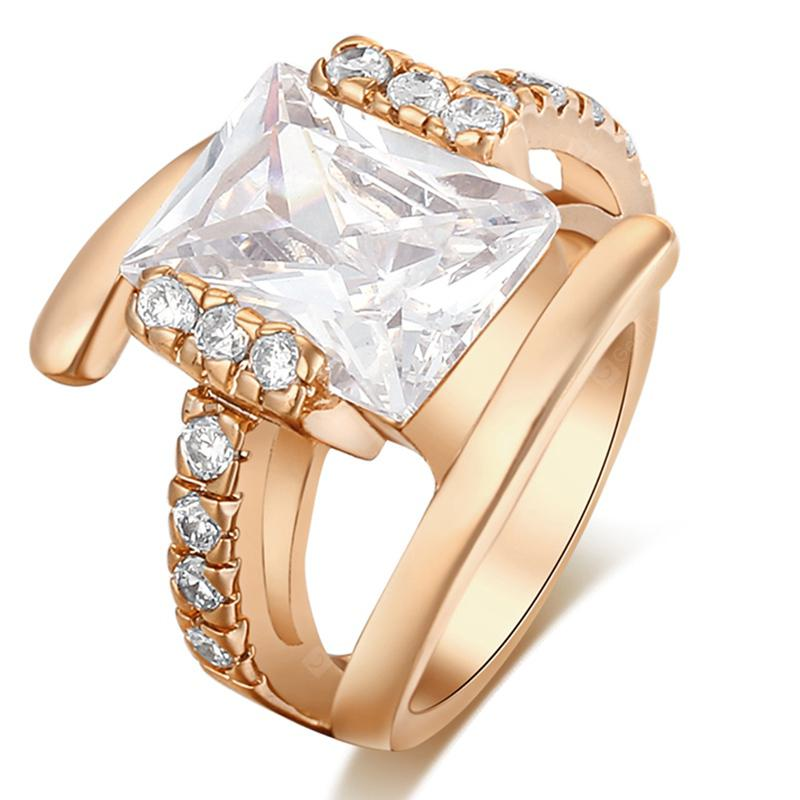 Fashion Micro-shaped Square Malposition of Zircon Ring J0577