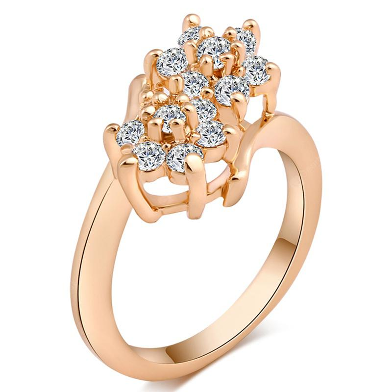 Double Flower Lovely Dislocation Cross Ring J0593