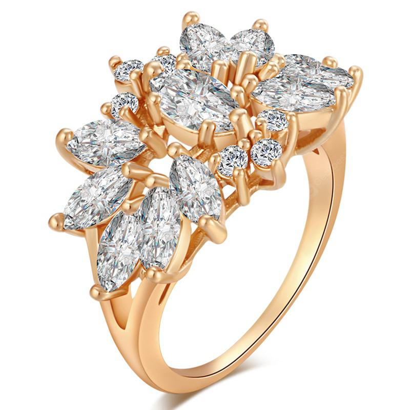 Fashion Petals Exquisite Zircon Ring J0709
