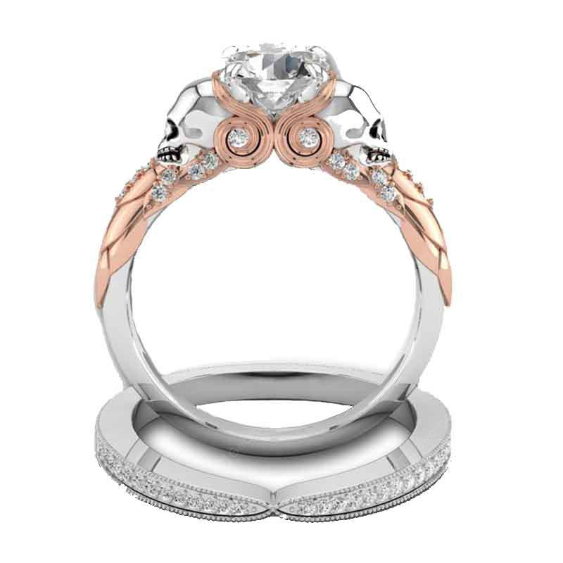 2PCS Women's High-end Fashion Creative  With Double-color Ring