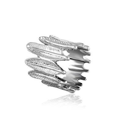 Creative Fashion Feathers Metal Unisex Hipster Anillos