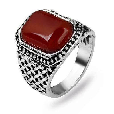 Fashionable Joker Side Drill Onyx Weaving Grain Ring