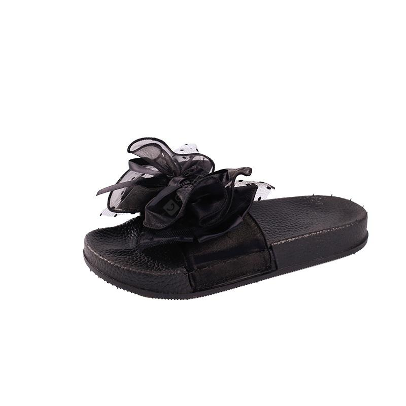 Fashion Wear All-match Bow Thick Soled Slippers Word