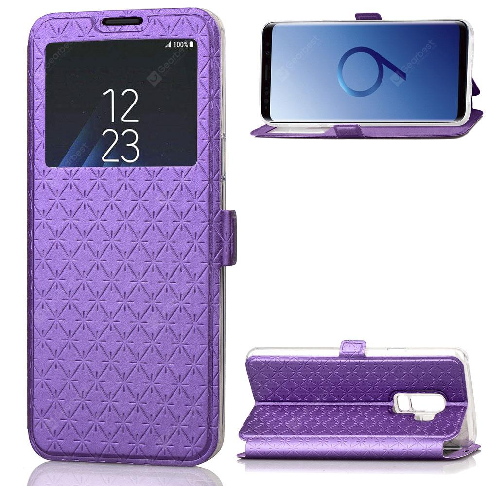 Window PU Leather Cover Case for Samsung Galaxy S9 Plus