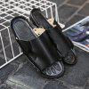 Fashion Genuine Leather Men Casual Slippers - BLACK