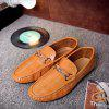 Men Driving Premium Genuine Leather Fashion Casual Slip On Loafers Shoes - DARK ORANGE