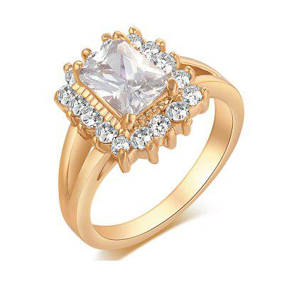 Fashionable Micro-shaped Double-deck Zircon Ring J0381