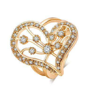 Fashion Lovely Hollowed-out Heart-shaped Zircon Ring J0620