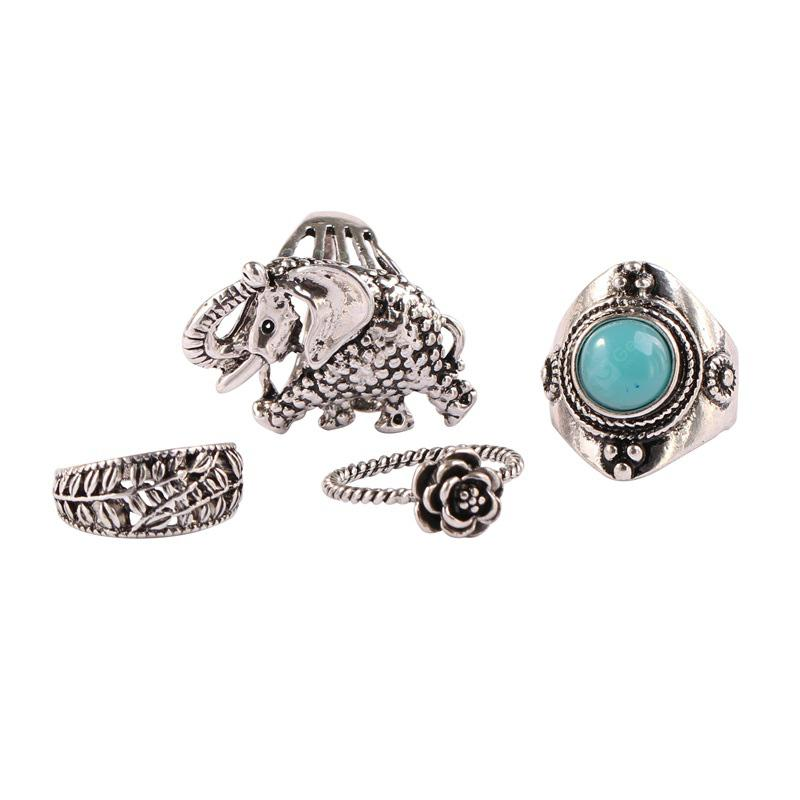 Fashion Jewelry Blue Elephant Ring Restoring Ancient Ways Suit