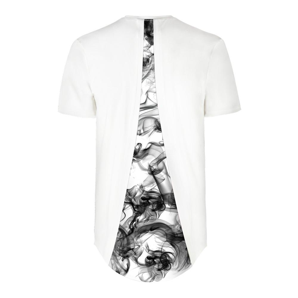Smoke Pattern Back Digital Printing Short Sleeve T-shirt
