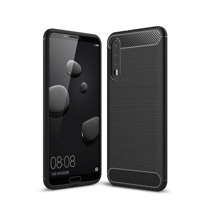 Cover Case for Huawei P20 Pro Shockproof Carbon Fiber TPU Drawing Material Phone