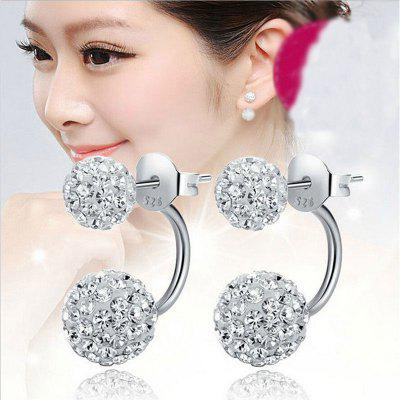 925 Sterling Silver Double Beads Crystal Stud Earring Jóias Mulheres