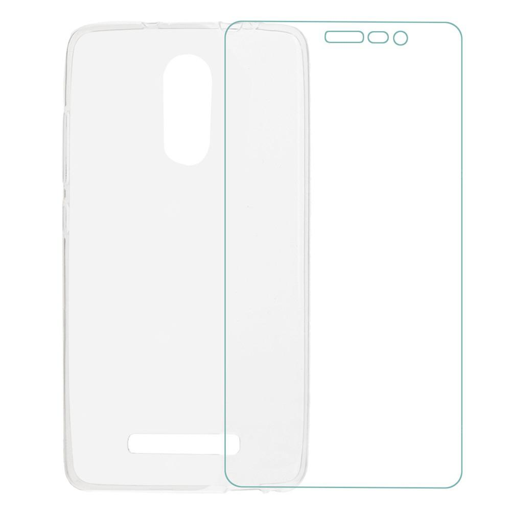 Proteção TPU Back Case Cover + Screen Protector Guard Set para Xiaomi Redmi Note 3