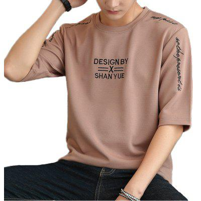 New Fashion Embroidery Men's Five-Point Sleeve T-shirt