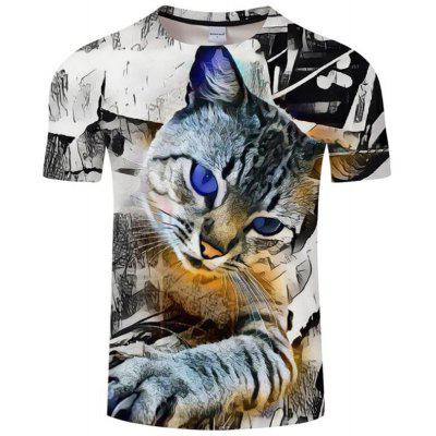 Men's Casual 3D Print Cat Round Neck Short Sleeves T-shirt