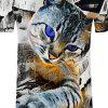Men's Casual 3D Print Cat Round Neck Short Sleeves T-shirt - GRAY