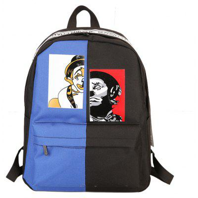 Contrast Color Casual Unisex Backpack