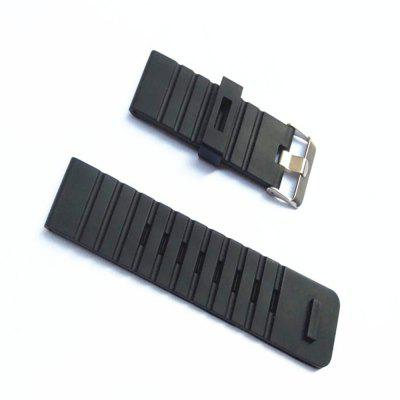 24MM for Suunto Core Watch Strap Black Soft Rubber Silicone+Stainless Buckle+PVD