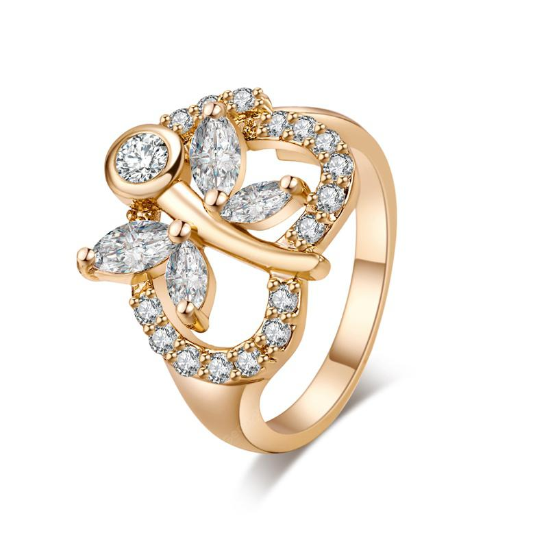 Fashion Dragonfly Hollowed-out Heart-shaped Zircon Ring J0827