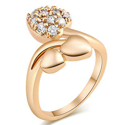 Fashionable Micro-edged Heart Leaves with Delicate Zircon Ring J0860