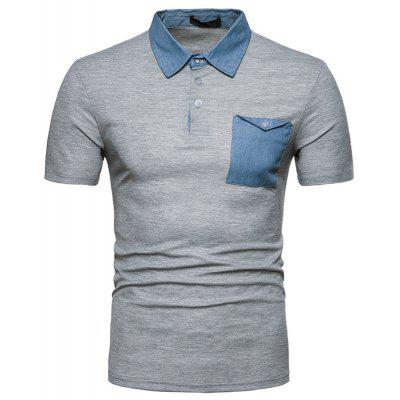 New Summer Casual Denim Collar Men'S Short Sleeve Polo Shirt