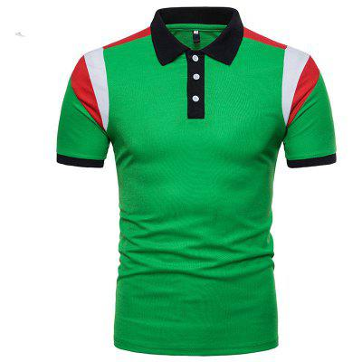 And The Wind of Summer New Men' s Shoulder Color Short Sleeve Polo Shirt