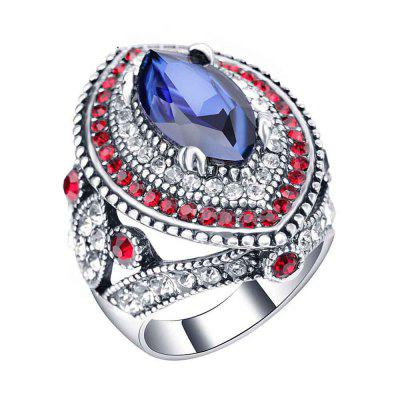 Gold-Plated Inlaid Crystal Sapphire Vintage Women'S Ring