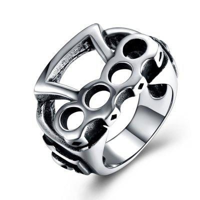 Punk Style Geometric Hollow Out Stainless Steel Ring