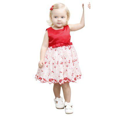 Yoyoxiu CX1204 - 2 Girl's Vest Skirt Patchwork Round Neck Fashion Lace Dress