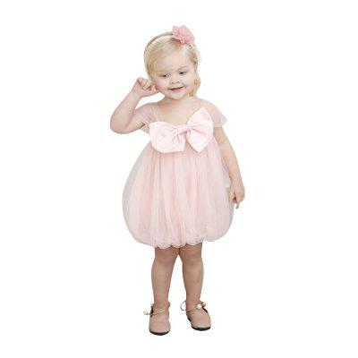 Yoyoxiu CX1204 - 7 Girl's Slip Solid Color Bow Decor Fashion Gauzy Dress