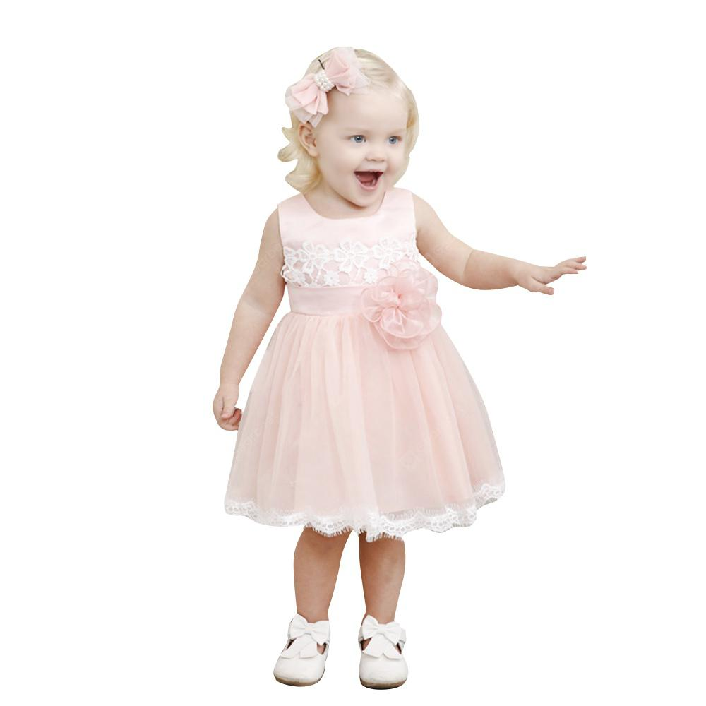 Yoyoxiu CX1206 Girl's Round Neck Patchwork Fashion A-line Lace Dress