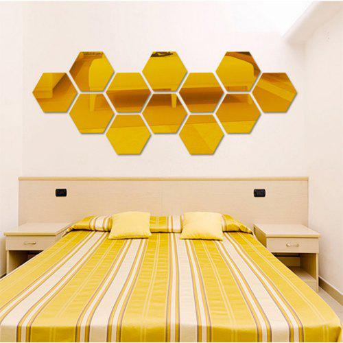Hexagon Mirror Acrylic Decorative Mirror Wall Sticker 7pcs 11 29