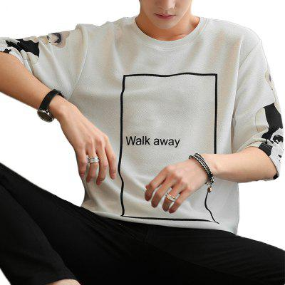 Summer Printed Loose Men's Five-Point Sleeve T-shirt